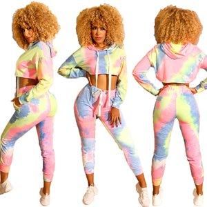 Femmes Survêtement de sport de mode Tie-dye sport à capuchon court Costume Femme Top survetement femme Deux femmes Piece Vêtements S-XXL