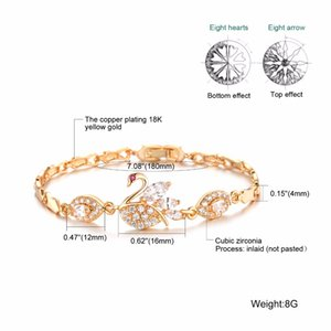 queen66 2020 Vintage Swan Tasarım Link Zinciri Kadın Bilezikler Moda Altın Rengi Taşlı Düğün Takı