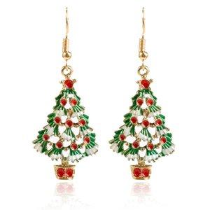 Orecchini orecchini gancio Natale ciondolano rosso verde dello smalto dell'albero partito di festa regalo di Natale a tema IdeaThanksgiving orecchini per le donne