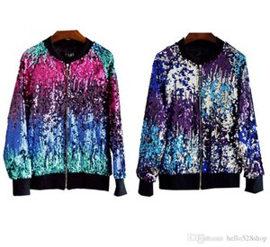 Fashion Cool Women Gradient Color Baseball Jacket Sequins Ladies Outerwear Casual Coat
