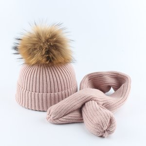 2019 Hat And Scarf For Girls Real Fur Pompom Beanie Hat Children kids Baby Cotton Cap Skullies