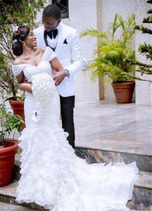 Mermaid White Lace Wedding Dress Cap Sleeve Tiered Ruffles Organza Skirt 2020 African Spring New Bridal Gowns Custom Size Robe De Mariee