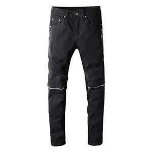 Neueste Mens Zipper Distressed Schwarze Jeans Modedesigner Slim Fit Gewaschene Motorrad-Denim-Hosen Panelled Hip Hop Biker Hose PN627