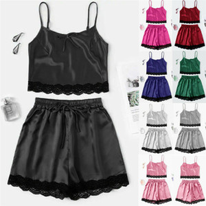 Moda Casual Mulheres Roupa 2pcs Sweet Sleep Set Satin Lace Cami Top + Shorts Lingerie Terno Sets Nightdress pijama