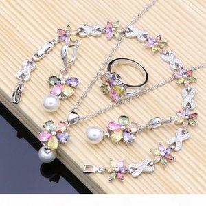 Flower Multicolor Zircon White Pearls 925 Silver Jewelry Sets For Women Wedding Earrings Pendant Ring Bracelet Necklace Set