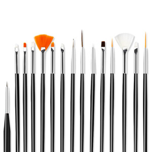 LadyMisty 15pcs Nail Art Brush Set for Manicure Gel Nail Acrylic Brushes For Gel Polish Painting Drawing Pen