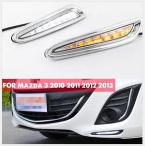 DRL Para Mazda 3 Mazda3 2010 2011 2012 2013 LED luzes diurnas Daylight luz de nevoeiro farol capa com sinal de volta amarelo