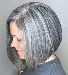 Bob Silver Silver Gris Pelucas para el cabello humano para las mujeres Blend Pixie Cut Wig Natural Daily Use Hair (pelo gris)