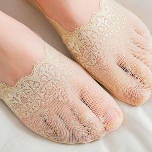 1pair Frauen Socke Sommer Pantoffeln kurze inble Socken modis Normallackspitzenetz dünne Liner keine Show ped Frauen-Nylonsocken