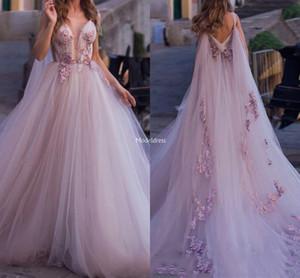 Bohemain Prom Vestidos V-Neck traseira aberta apliques Varrer ocasião Train Suave Tulle formal do partido vestidos de noite elegante especial Vestidos Vestidos