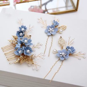Korean bridal headdress sweet blue small fresh head flower forest hair accessories hair comb wedding wedding dress accessories