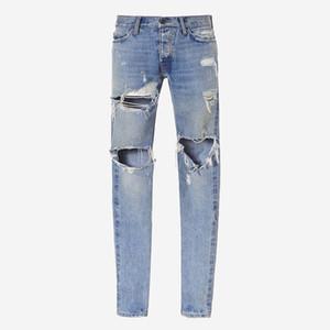 Tanrı Denim Pantolon 18ss Korku SİS Jeans Baskı Erkekler Jeans Moda Skinny Pantolon Fermuar Fly Pantolon Mektupları Casual Jeans HFTTKZ026 Ripped