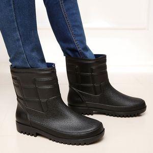 أسود أحذية المطر الرجال بوت صيد الشتاء أحذية الكلاسيكية المطاط فور سيزونز الأزياء والأحذية للماء المطر أحذية الثلج أحذية