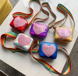 New Meilleure vente Filles Style coréen Joli Coeur Designer Sac Messenger épaule enfants arc-en-mignon sac à main souple PU