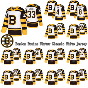 Boston Bruins Custom Men's Winter Classic White Jersey 33 Chara 88 Pastrnak 37 Bergeron 63 Marchand 4 Orr 8 Neely 13 Coyle