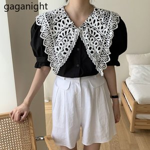 Gaganight Lace Hollow Out Women Blouse Elegant Office Lady Two Pieces Set Summer Girl Suit Elastic High Waist Solid Short Casual T200704