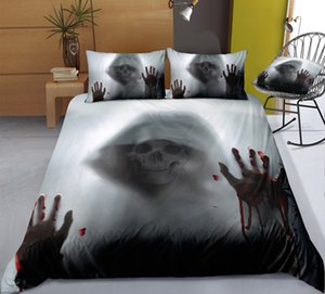 Thumbedding Solid Bedding Set Skull Printed Duvet Cover Soft Home Textiles Skull Printed Bedclothes with Pillowcases