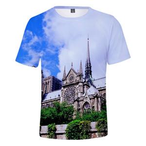 3D Cool Notre Dame De Paris Imprimer été tshirts Femmes / Hommes Vêtements Casual manches courtes T-shirts Kpops Plus Size 4XL __gVirt_NP_NN_NNPS<__
