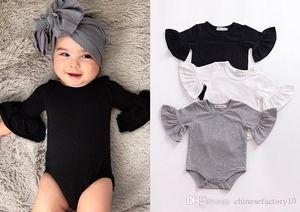 Baby Mädchen Jungen Flare Sleeve Romper Infant Ruffle Sleeves Overalls Fashion Boutique Kinder Klettern Kleidung 3 Farben