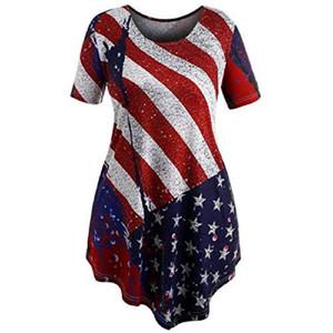 Дамы Полосатые Неправильные Топы Женщина Футболка Звезды Печати С Коротким Рукавом Повседневная Одежда Американский Флаг Независимости Национальный День США 4-го июля