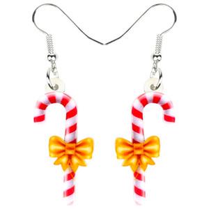 Acrylique Noël doux de sucre de canne Boucles d'oreilles goutte Dangle Ornements mignons bijoux pour femmes filles ados Accessoires cadeau Nouveau