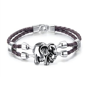 Motif éléphant en cuir Charm Bracelet Hommes 4 couleurs Designer Jewelry Mens Double couche Bangles Pulseras Bijoux de cadeau de Noël