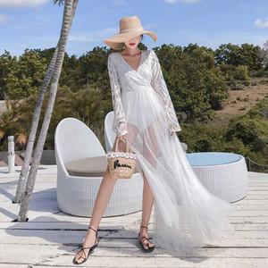 Sortie de plage robes et tuniques couvrante mode pour femmes 2020 Jupe Super Dress Femme solide Acétate Sierra Surfer Natation