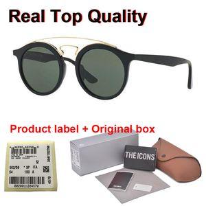 무료 소매 케이스와 라벨로 4256 고양이 눈 선글라스 클럽 라운드 빈티지 브랜드 디자이너 남성 여성 태양 안경 UV400 유리 렌즈