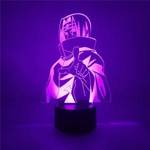 Anime figura Uchiha Itachi Naruto figura Led 3D luce notturna 7color acrilico Naruto figuras lampada da tavolo a LED Home decor per bambini regalo Y200421
