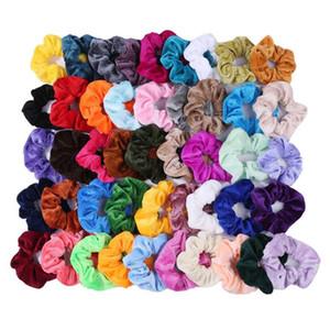 46 renk Toptan kadınlar zarif Kore kadife elastik saç bantları saç kravat at kuyruğu tutucu Scrunchies bandı Lady saç aksesuarları