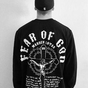 En iyi Hip Hop Sokak Uzun Kollu Noel İsa Din Çapraz Baskı Sokak tişört Kazak Hoodie İlkbahar Sonbahar Kazak Tee HFYMWY281