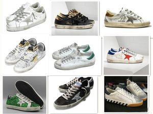 Turnschuhe der alten Art Schmutzige Schuhe echtes Leder Villous Dermis beiläufige Schuhe Mens-Frauen-Luxuxsuperstartrainer 36-46