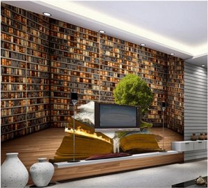 wall mural photo wallpaper brown bookself wallpapers book shelf living room TV sofa background wall