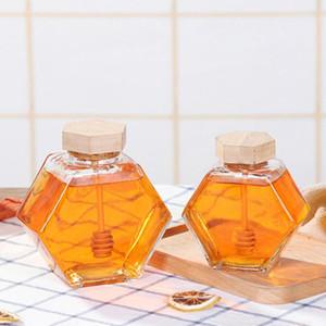 وعاء العسل الزجاجي Hexagonal مرطبان العسل مع غطاء الفلين الخشبي للمطبخ المنزلي