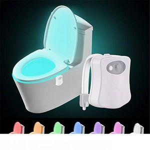 olorful sensore di movimento igienici luce di notte, casa servizi igienici bagno Human Light Auto Body Motion Activated Sensor Toilet Seat illumina la lampada a 8 colori
