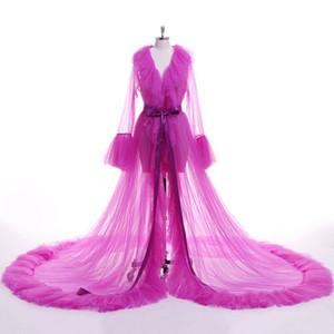 2020 Seksi Kadın İç Giyim Dantel Şeffaf Mesh Tül Perspektif V boyun Ruffles Maxi Kat Uzun Banyo Robe Elbise Pijama Elbise katmanlı