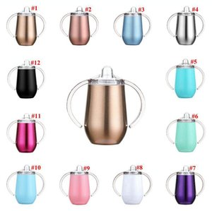 Stainless Steel Egg Mug 10oz Sippy Handle Vacuum Insulated Leak Proof Travel Cup Egg Shaped Mugs Sea Shipping OOA7934