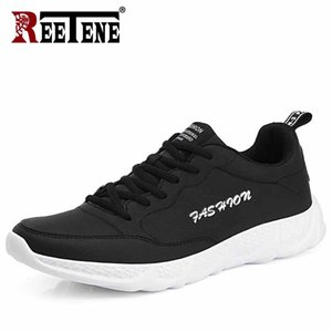 REETENE Leather Men Sports Shoes Men Casual Sneakers Lace Up Soft Comfortable Casual Footwear Fashion Outdoor Running Male Shoes