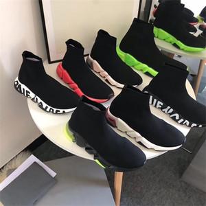 Мужская Stretch Mesh Speed Носок кроссовки моды граффити на единоличном женщин Носок тренеров скорость бега Дизайнерская обувь черный белый цвета EU46