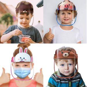 18 Çocuk Karikatür Yüz Shield Yeniden kullanılabilir PET Anti-sis Temizle Koruyucu Tam Yüz Sıçrama önleyici Siperlik Çocuklar Güvenli Parti Maskeler Maske Tasarımları