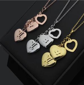 3 colori gioielli modo caldo dell'acciaio inossidabile 316L argento L'oro è aumentato del cuore fiore ciondolo collana lunga catena di gioielli delle donne di natale