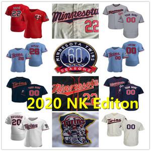 2020 60th Minnesota Josh Donaldson jerseys Max Kepler Kirby Puckett Byron Buxton Miguel Sano Cruz Eddie Rosario Carew Hombres Mujeres Jóvenes Dama