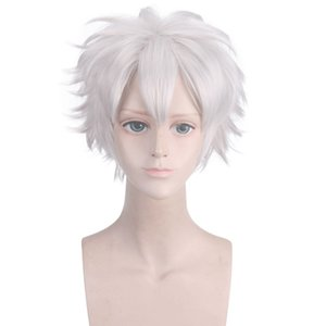 VICWIG 10 Inch Short natural Curly Silver white cosplay Wig with Bangs Synthetic Hair Cos Demon Slayer Shinazugawa Sanemi