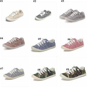 Battaniyeler Ekose Tuval Ayakkabı Kamuflaj Casual Flats Loafers Lazy Sneakers Nefes Tek Ayakkabı Chaussures Doğa Sporları Ayakkabı D7423 Ayakkabı