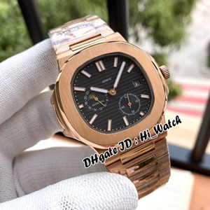 Nautilus Classic 5712 Luna Fase automática del reloj para hombre Negro Textura de oro rosa Dial Marcadores Stick pulsera de acero inoxidable hi_watch E110a1