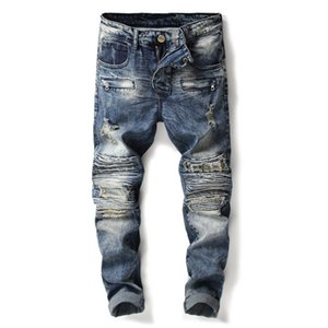 Fashion Mens Hi Street Ripped Motorcycle Jeans Pants Straight Stretch Distressed Biker Denim Trousers Destroyed Washed
