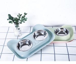القط الكلب مزدوج السلطانيات الكلب السلطانيات الفولاذ المقاوم للصدأ أغذية الحيوانات الأليفة المياه المغذية للحيوانات الاليفة جرو صغير متوسط الكلاب شحن مجاني