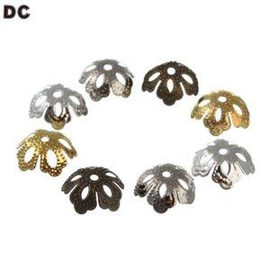 DC 500 unids / lote 13.5 * 5 mm Flor Spacer Beads Cup para la costura de plata de oro encanto de la aleación de zinc para la joyería pulsera que hace