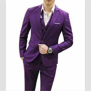 2018 Mor Saten erkek Takım Elbise Clasic Fit 3 Parça Erkek Takım Elbise Blazer Bir Düğme Tailcoat Iş Düğün (ceket + Pantolon Yelek) Custom Made