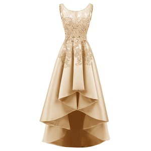 Ladies Lace Elegant Dress For Wedding Party Champagne Appliques A Line Bridesmaid Dresses Sleeveless Prom Gown Marriage Gift
